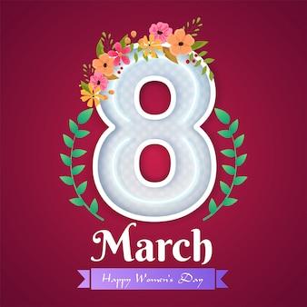 Letras de néon de 8 de março decoradas