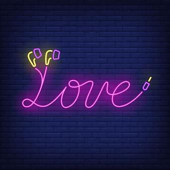 Letras de néon de amor feitas de cabo de fones de ouvido