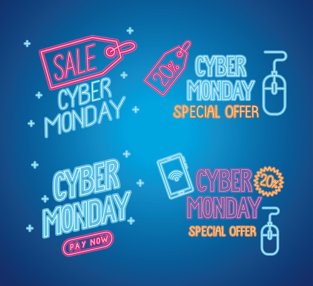 Letras de néon de cyber segunda-feira em desenho de ilustração de fundo azul