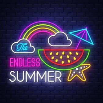 Letras de néon de férias de verão sem fim