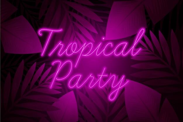 Letras de néon tropical com folhas e festa