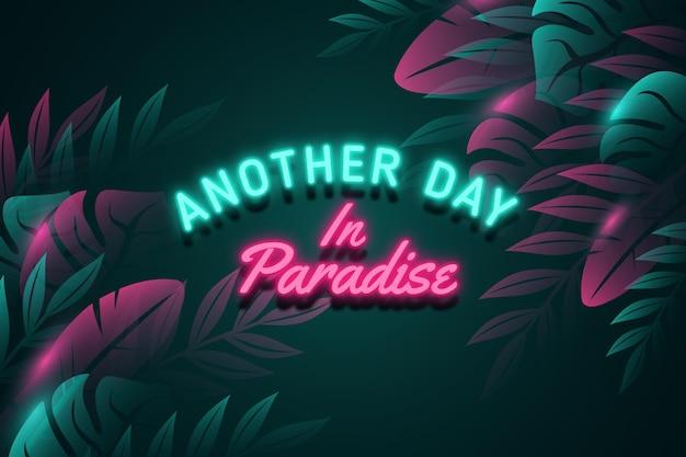 Letras de néon tropical com folhas ou flores