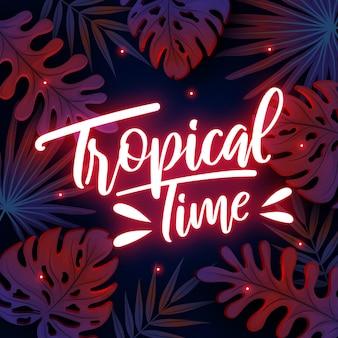 Letras de néon tropical com folhas