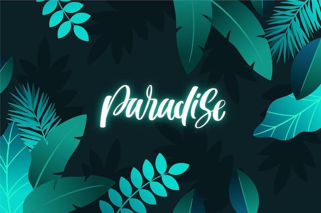 Letras de néon tropical com tema de folhas