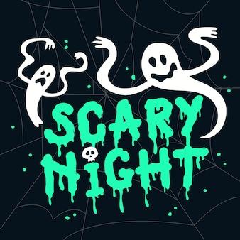 Letras de noite assustadora com fantasmas