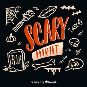 Letras de noite assustadora em fundo preto