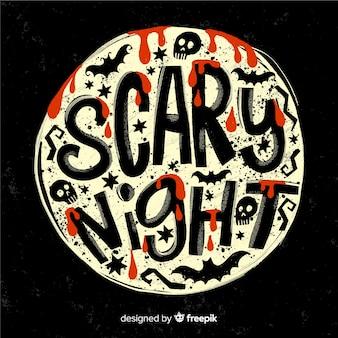 Letras de noite assustadora em uma lua cheia