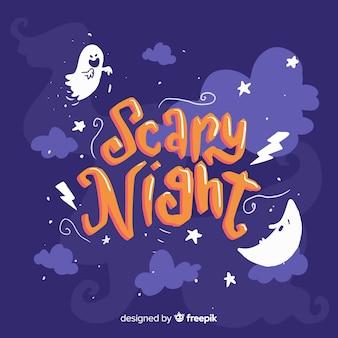 Letras de noite assustadora no céu da noite