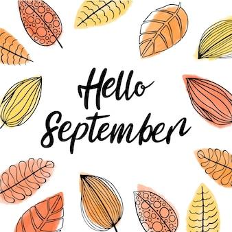 Letras de olá de setembro desenhadas à mão