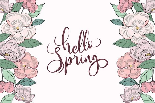 Letras de olá primavera desenhadas à mão