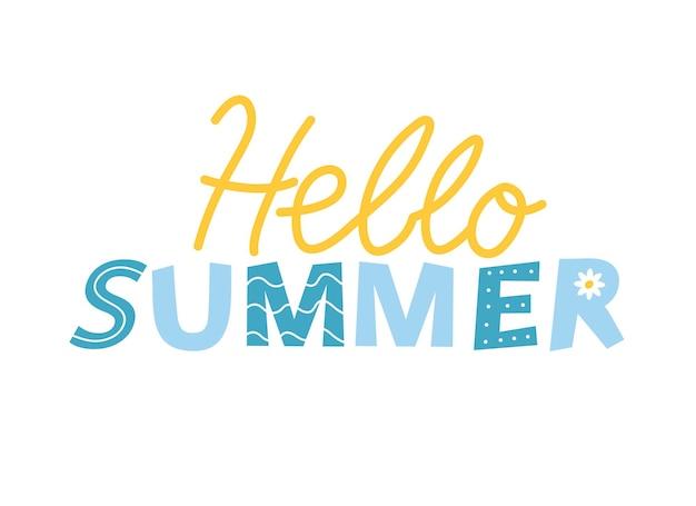 Letras de olá verão, letras amarelo-azuis em fundo branco.