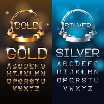 Letras de ouro e prata