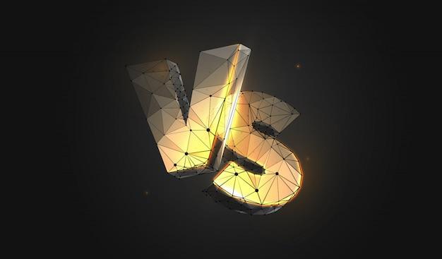 Letras de ouro vs. estilo de estrutura de arame de baixo poli.