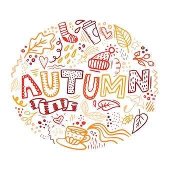 Letras de outono com elementos