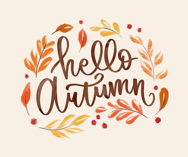 Letras de outono em aquarela