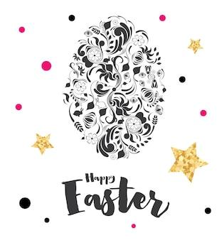 Letras de páscoa feliz com ovo e estrelas douradas. ilustração vetorial.