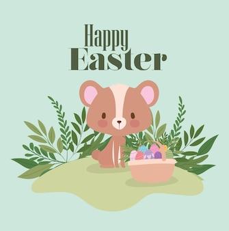 Letras de páscoa feliz com um urso fofo e uma cesta cheia de desenhos de ilustração de ovos de páscoa