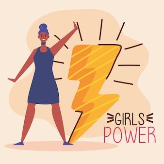 Letras de poder feminino com ilustração de mulher afro e raio de trovão