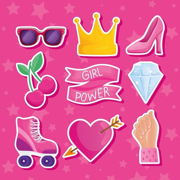 Letras de poder feminino em design de quadro e ícones de fita
