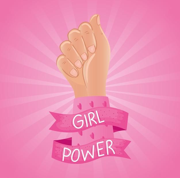 Letras de poder feminino em fita com design de punho de mão