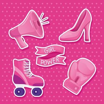 Letras de poder feminino em moldura de fita e conjunto de ícones de design