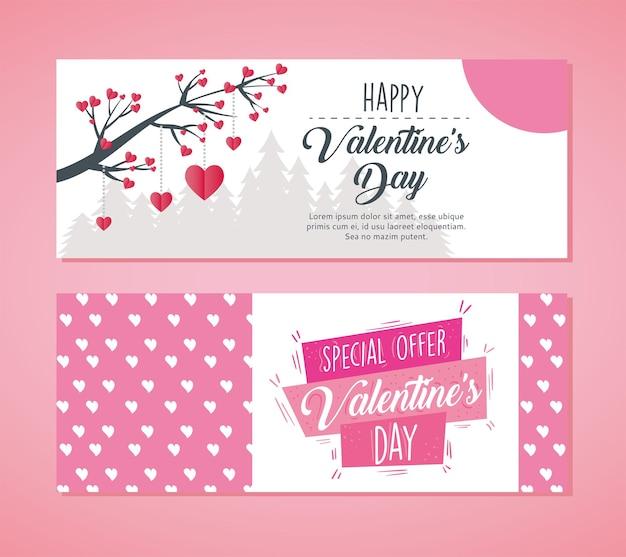 Letras de pôster de dia dos namorados com galho de árvore e corações