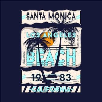 Letras de praia em santa monica, los angeles, em t-shirt gráfico com tema de praia