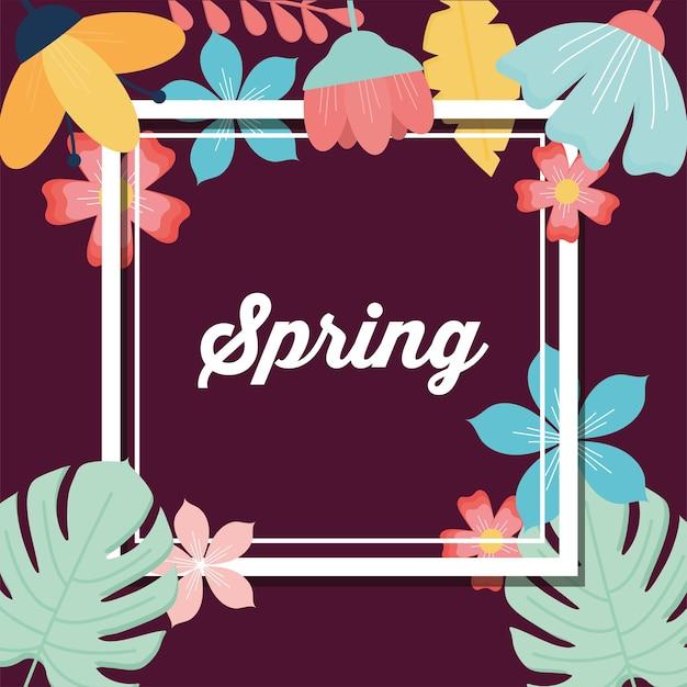 Letras de primavera em uma moldura e um conjunto de flores