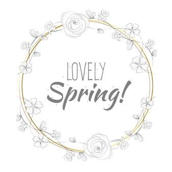 Letras de primavera linda na moldura dourada