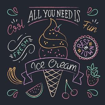 Letras de quadro-negro de sorvete desenhadas à mão