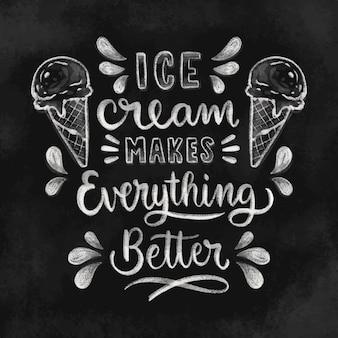 Letras de quadro-negro de sorvete desenhado à mão