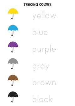 Letras de rastreamento. rastreie os nomes das cores básicas. prática da escrita.