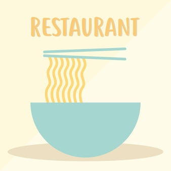 Letras de restaurante com um prato de macarrão e dois pauzinhos