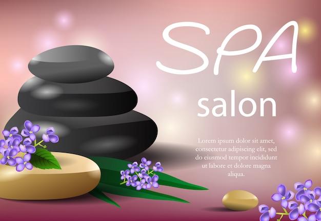 Letras de salão spa com pilha de pedra e galhos lilás.