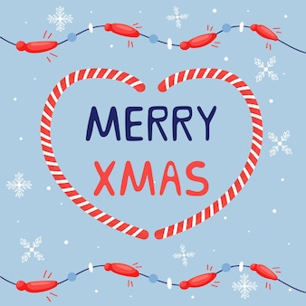 Letras de saudação de natal feliz natal com festão. elementos bonitos de férias coração de caramelo. cartão de ano novo