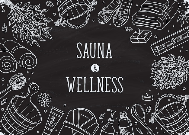 Letras de sauna com conjunto de elementos de mão desenhada