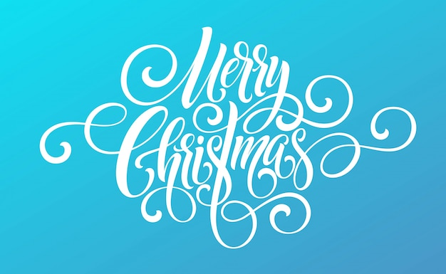 Letras de script de caligrafia de feliz natal em um fundo colorido brilhante.