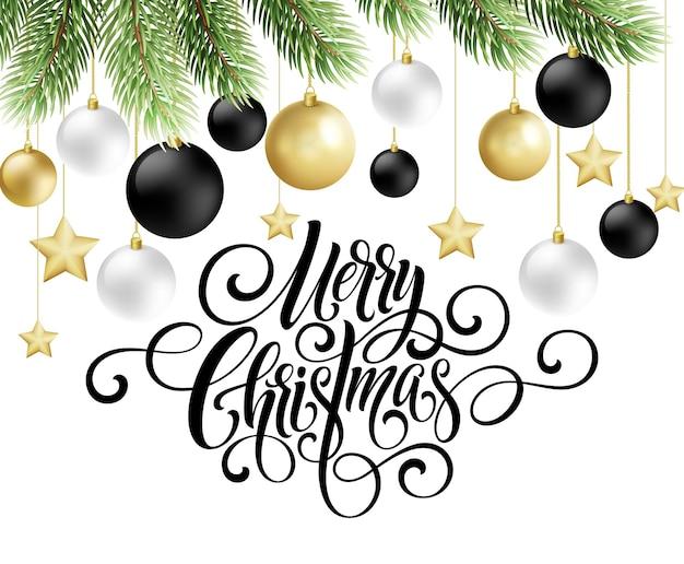 Letras de script de caligrafia de feliz natal. saudação de fundo com uma árvore de natal e decorações. ilustração vetorial eps10