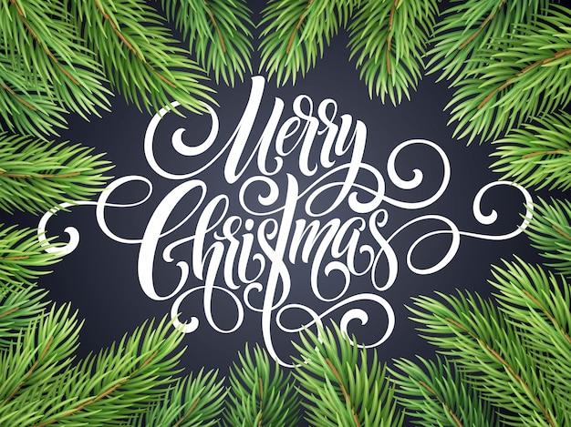 Letras de script de caligrafia feliz natal, cartão de felicitações
