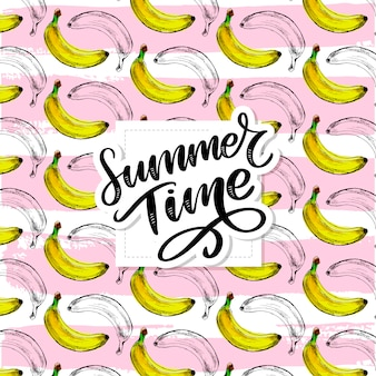 Letras de slogan de horário de verão, padrão de banana sem costura