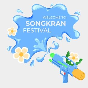 Letras de songkran design plano em respingos de água