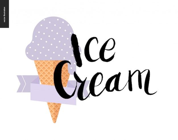 Letras de sorvete e um sorvete violeta