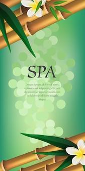 Letras de spa, bambu e flores. cartaz de publicidade de salão de spa