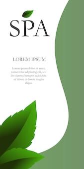 Letras de spa com folhas no canto. fundo criativo com segmentos verdes e brancos.
