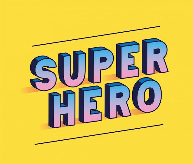 Letras de super-herói em design de fundo amarelo, tipografia retro e tema cômico