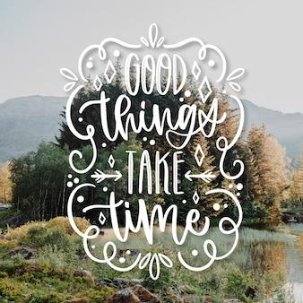 Letras de texto otimista de coisas boas