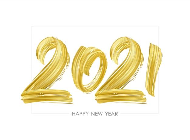 Letras de tinta dourada de pincelada desenhada mão de 2021. Vetor Premium