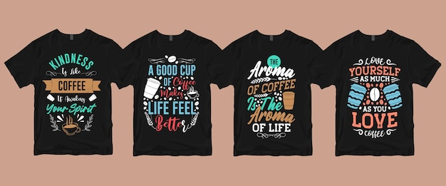 Letras de tipografia citam provérbios sobre o pacote de camisetas de café