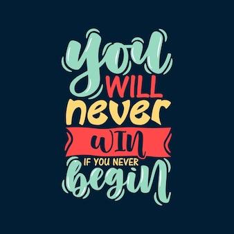 Letras de tipografia de citação motivacional