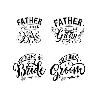 Letras de tipografia de citações de casamento para design de camisetas